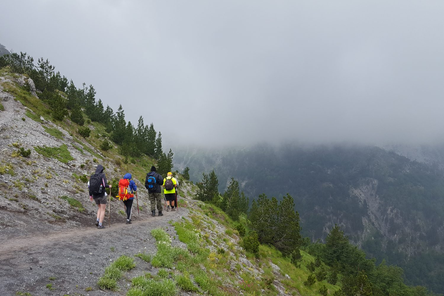Group of hikers in the Peaks of the balkans